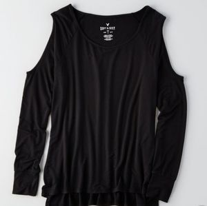 American Eagle Soft & Sexy Black Cold Shoulder Tee